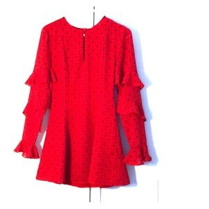 Red polka dot mini dress with tiered sleeves